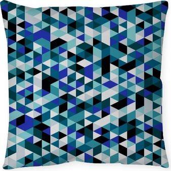 Dekorativ kudde Retrostil triangelmönster. Slumpvis färgade trianglar, vertikal layout. Färger havet. Abstrakt geometrisk vektor bakgrund.