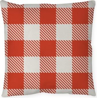 Dekorativ kudde Seamless röd och vita duken vektor mönster.