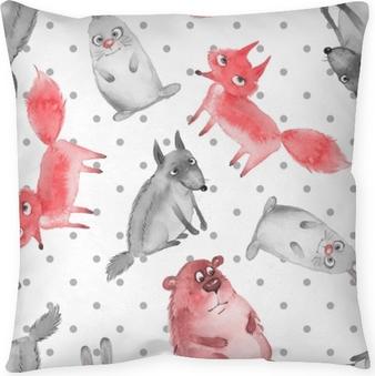 Dekorativ kudde Sömlöst mönster med tecknade skogsdjur 2. varg, björn, räv och hare