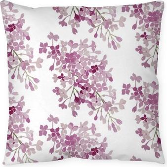 Dekorativ kudde Sömlöst mönster. rosa blommor lila. vektor bakgrund banner.