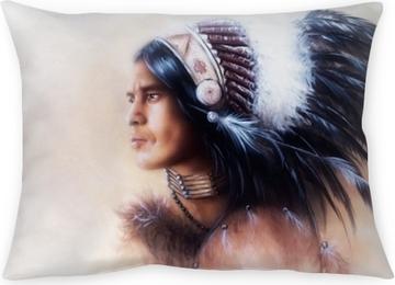 Dekorativ kudde Vacker målning av en ung indisk krigare som bär en underbar