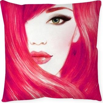 Dekorativ kudde Vackert kvinna ansikte. långt friskt hår. abstrakt mode vattenfärg illustration