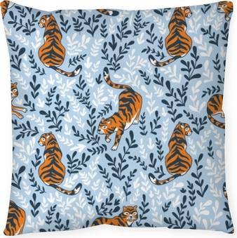 Dekorativ kudde Vektor sömlöst mönster med tigrar isolerade på blommig bakgrund. djur bakgrund för tyg eller tapet boho design.