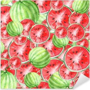 Pixerstick Dekor Akvarell sömlös vintage mönster med vattenmelon mönster. skivor, vattenmelon frukt. färgerna röda och gröna.