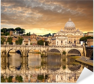Pixerstick Dekor Basilica di San Pietro med bron i Vatikanen, Rom, Italien
