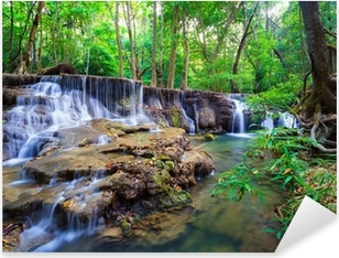 Pixerstick Dekor Djup skog vattenfall i Kanchanaburi, Thailand