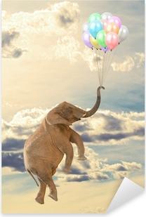 Pixerstick Dekor Elephant Flying med ballong