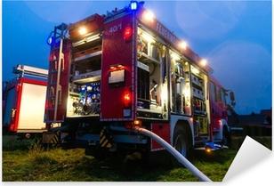 Pixerstick Dekor Feuerwehr im Einsatz mit Blaulicht