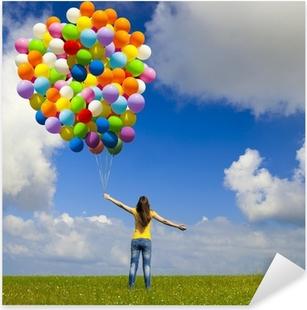 Pixerstick Dekor Flicka med färgglada ballonger