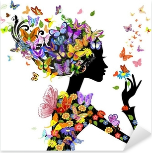 Pixerstick Dekor Flicka mode blommor med fjärilar