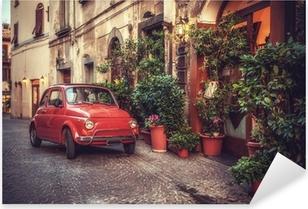 Pixerstick Dekor Gamla vintage kult bil parkerad på gatan av restaurangen, i