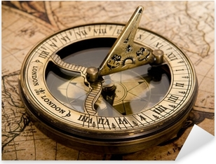 Pixerstick Dekor Gammal kompass på vintagekartan 1752