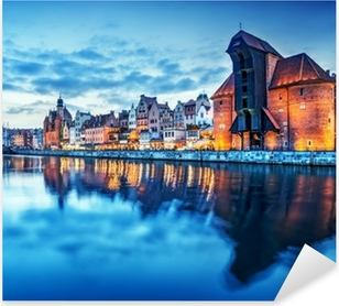 Pixerstick Dekor Gdansk, Polen gamla stan, Motlawa floden. Berömda Zuraw crane