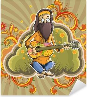 Pixerstick Dekor Hippie med gitarr i nirvana