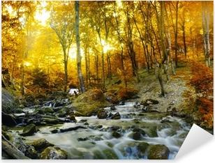 Pixerstick Dekor Hösten bäck skogen med gula träd