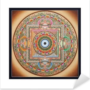 Pixerstick Dekor Inre delen av forntida tangka Ohm Mandala på vitt