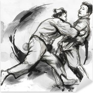Pixerstick Dekor Judo - en fullstor handritad illustration