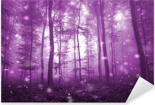 Pixerstick Dekor Magisk rosa färgad dimmig skog med konstnärliga eldflugor ljus bakgrund. magisk mörkrosa färgad saga skog.