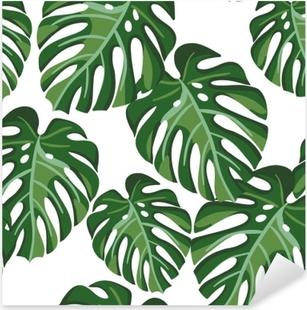 Pixerstick Dekor Monstera palm lämnar på den vita bakgrunden. vektor sömlöst mönster med tropisk växt. tropisk djungel lövverk.