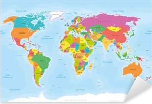 Pixerstick Dekor Planisphere Mappemonde. Textes En français vectorisés