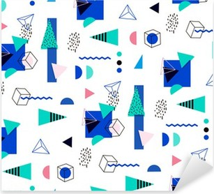 Pixerstick Dekor Seamless geometriskt mönster i retro 80-talet
