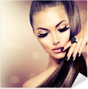 Pixerstick Dekor Skönhet Mannekäng Flicka med Long Healthy Brunt hår