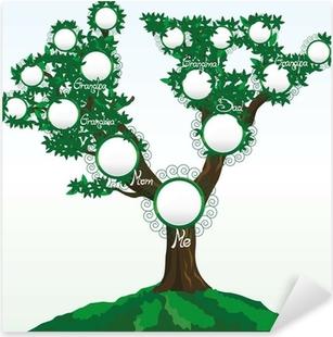 Pixerstick Dekor Släktträd med plats för foton eller namn, vektor