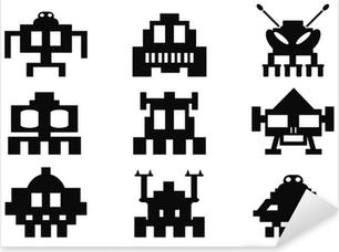 Pixerstick Dekor Space Invaders ikoner set - pixel monster
