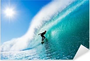 Pixerstick Dekor Surfer på Blue Ocean Wave