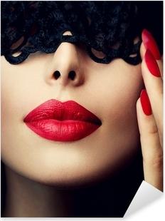 Pixerstick Dekor Vacker kvinna med svart spets mask över hennes ögon