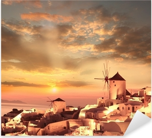Pixerstick Dekor Väderkvarnar i Santorini mot solnedgången, Grekland