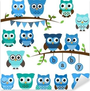 Pixerstick Dekor Vektor Insamling av Boy Baby Shower Tema Owls och grenar
