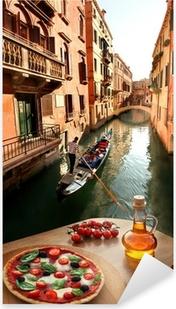 Pixerstick Dekor Venedig med italiensk pizza mot kanalen i Italien