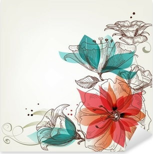 Pixerstick Dekor Vintage blommor bakgrund