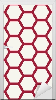 Deursticker Abstract geometrisch rood en wit grafisch ontwerpdeco-patroon