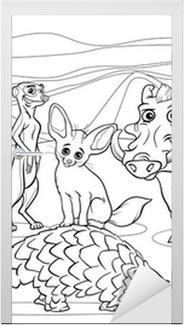 Kleurplaten Afrikaanse Dieren.Fotobehang Afrikaanse Dieren Cartoon Kleurplaat Pixers We Leven
