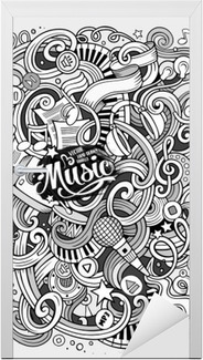 Deursticker Cartoon hand getekende doodles Musical illustratie