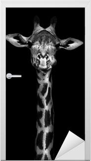 Deursticker Giraffe in Zwart-wit