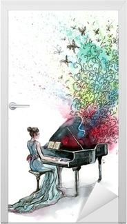 Deursticker Grand pianomuziek (reeks C)