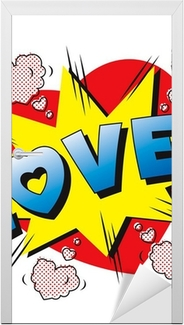 Deursticker Liefde cartoon explosie. Falling in love. Liefde vuurwerk.