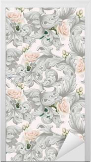 Deursticker Luxe rococo ornament met rozen bloemen achtergrond vector. delicate rijke imperiale ingewikkelde elementen. Victoriaanse koninklijke stijl patroon