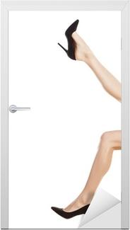 6baf7845a0ad39 Fotobehang Mooie vrouwelijke benen in strakke jeans op witte achtergrond •  Pixers® - We leven om te veranderen