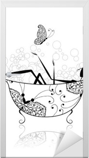 Deursticker Vrouw in de badkamer met schuim voor uw ontwerp