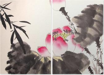 Díptico Dibuja la pintura del loto de tinta mano