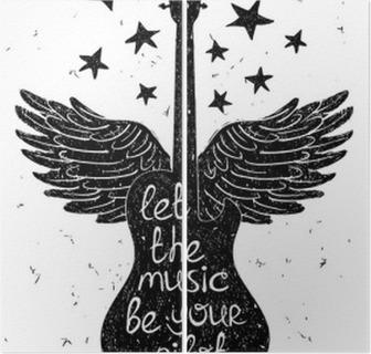 Díptico Dibujado a mano ilustración musical con siluetas de guitarra.