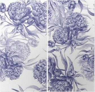 Díptico Grisaille Aquarela Peony Texture
