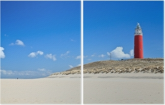 Díptico Lighthouse in the dunes at the beach