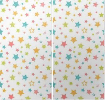 Díptico Teste padrão sem emenda bonito com estrelas. Cópia à moda com a mão tirada