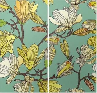Díptico Textura floral sin fisuras