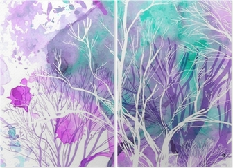 Abstract silhouette of trees Diptych